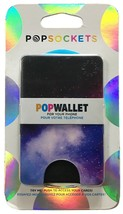 PopSockets Cell Phone POPWALLET Card Holder PopSocket Space Galaxy Black NEW image 1