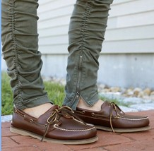 TIMBERLAND  2 EYE MEN'S ROOTBEER LEATHER BOAT SHOES - $50.00
