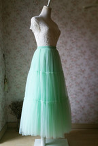 Women Tiered Long Tulle Skirt Mint Green Long Layered Tulle Skirt image 3
