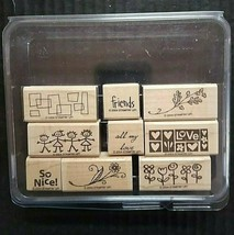 Stampin' Up Rubber Stamp Smorgasborders 9 Ct Set Friends Love Floral So ... - $15.50
