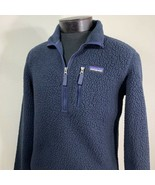 Patagonia Jacket Deep Pile Sherpa Fleece Pullover Navy Blue Men's Small ... - $119.99