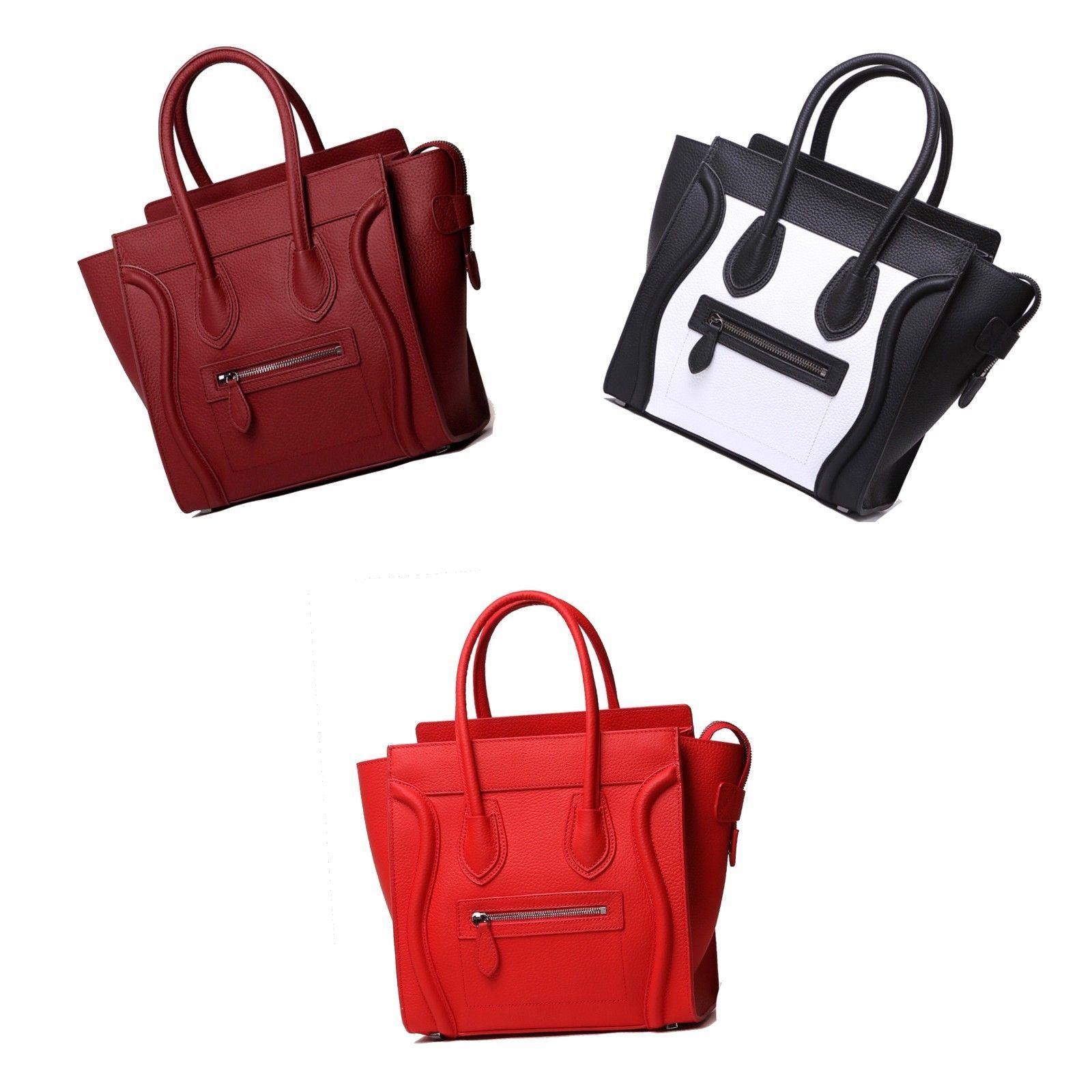 Pebbled Italian Leather Fashion Wing Satchel Handbag Shoulder Bag Purse