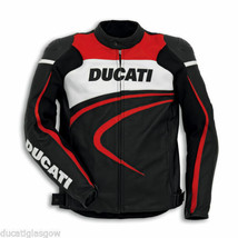 Ducati Red Striped Leather Armoured Motorcycle Jacket - $160.00