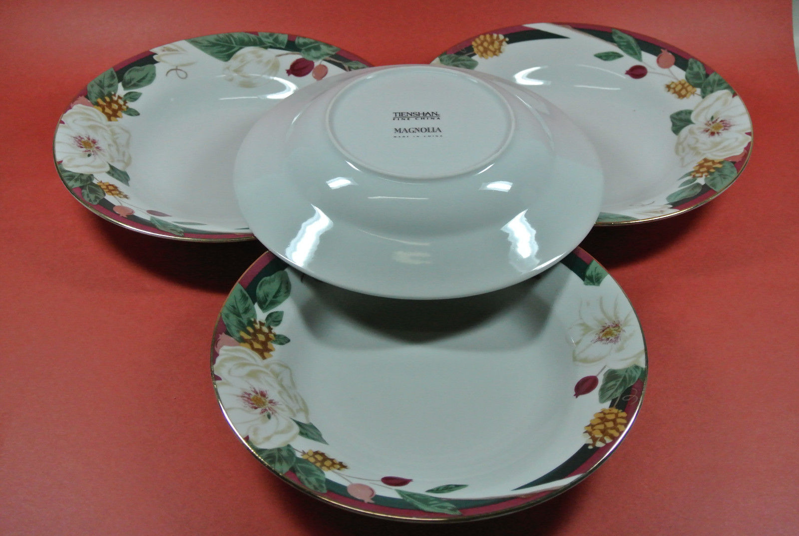 Set of 4 Rim Soup Cereal Bowls Tienshan MAGNOLIA White Flower Cone Red Band