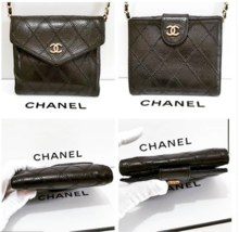 Auth Chanel Diamond Stitch Gold CC Caviar 2 in 1 Wallet Mini WOC Crossbo... - $485.00