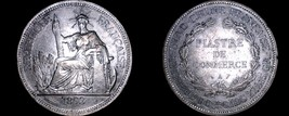 1893-A French Indo-China 1 Piastre World Silver Coin - Vietnam - $299.99