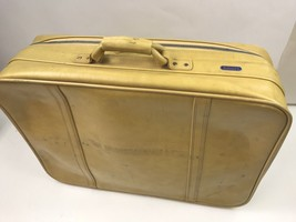 """Vintage Escort Suitcase Luggage Travel Carry On Bag Yellow Mustard 24"""" x 17.5"""" - $40.00"""