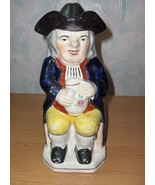 Antique Vintage  Colonial Man Ben Franklin Pitcher/Lid Figurine Toby Eng... - $232.65
