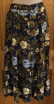 Sag Harbor Skirt Womens Floral Navy Blue Tan Tones Button Front Flair 31... - $14.84