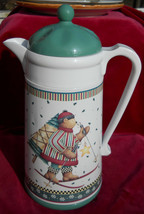 DEBBIE MUMM SLEDDING CHARACTERS COFFEE CARAFE THERMOS WINTER HOLIDAY GRE... - $16.82
