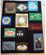 BEER themed t shirt quilt handcrafted patchwork 41 x 53 throw lap new  - $145.12