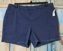 Style & Co Womens Plus 20W Blue Cotton Mid Rise Fringed Hem Chino Shorts... - $19.80