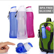 500ml Silicone Water Bottle Food Grade Creative Colapsible Foldable Spor... - $11.40