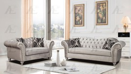 American Eagle AE2600-S Silver Fabric Tufted Sofa and Loveseat Set 2Pcs - $2,024.00