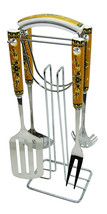 Brown and Gold Ceramic And Stainless steel Kitchen Cooking Utensil Set a... - $35.31