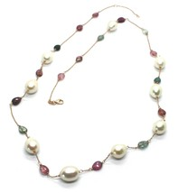 """18K ROSE GOLD LONG NECKLACE ROLO CHAIN, BIG 12mm PEARLS & TOURMALINE DROPS 26.7"""" image 1"""