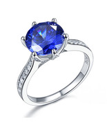925 Sterling Silver Promise Engagement Luxury Ring 3 Carat Blue Stone Je... - $119.99