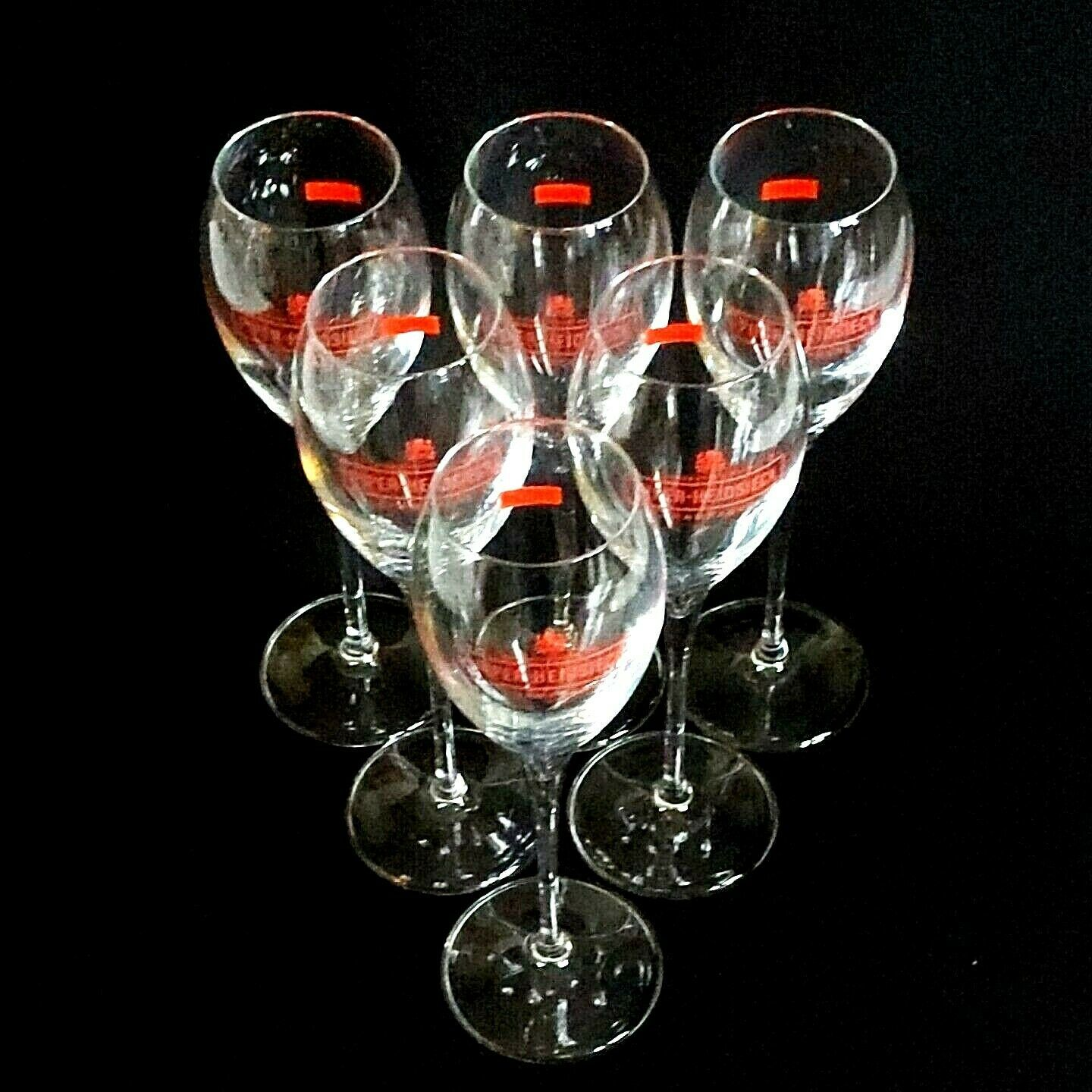 6 (Six) PIPER-HEIDSIECK RED LOGO Maison Fonde'e  1785 Crystal Champagne Flutes image 2