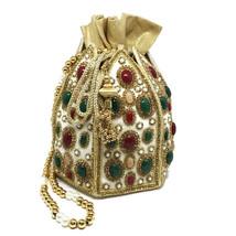 Bridal Clutch, Wedding Clutch, Pouch Evening Bag, Semi-Precious Stone Be... - $128.00