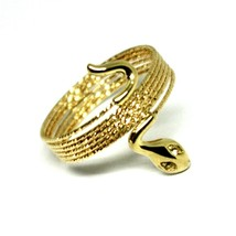 18K YELLOW GOLD MAGICWIRE MULTI WIRES RING, ELASTIC WORKED SNAKE, WHITE TOPAZ image 1