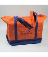 Brooks Brothers Canvas Tote Bag Shopping Bag Orange/Cobalt Blue One Size... - $22.44