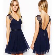 Summer Hot Style New Pure Color Sexy Chiffon Lace Lace Stitching Dress S... - $33.60