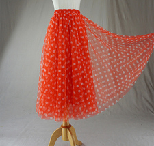 Polka Dot Tulle Midi Skirt High Waisted A-line Tulle Tutu Skirt Blue Dotted image 11