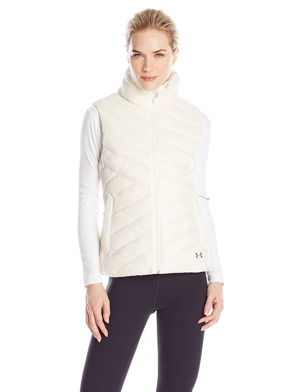 New Womens Under Armour Vest L White Down Warm Puff Infrared Storm NWT Water Res image 2
