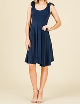 Navy Swing Dress, Navy Circle Skirt Dress, Sleeveless Dress with Empire Waist image 2