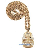 Pharaoh New Pendant with Cuban Link or Franco Necklace Egyptian King Tut - $35.95+