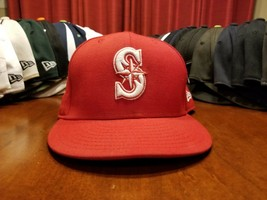 Seattle Mariners Red Flexfit Fitted Ball Cap Hat New Era - $14.07