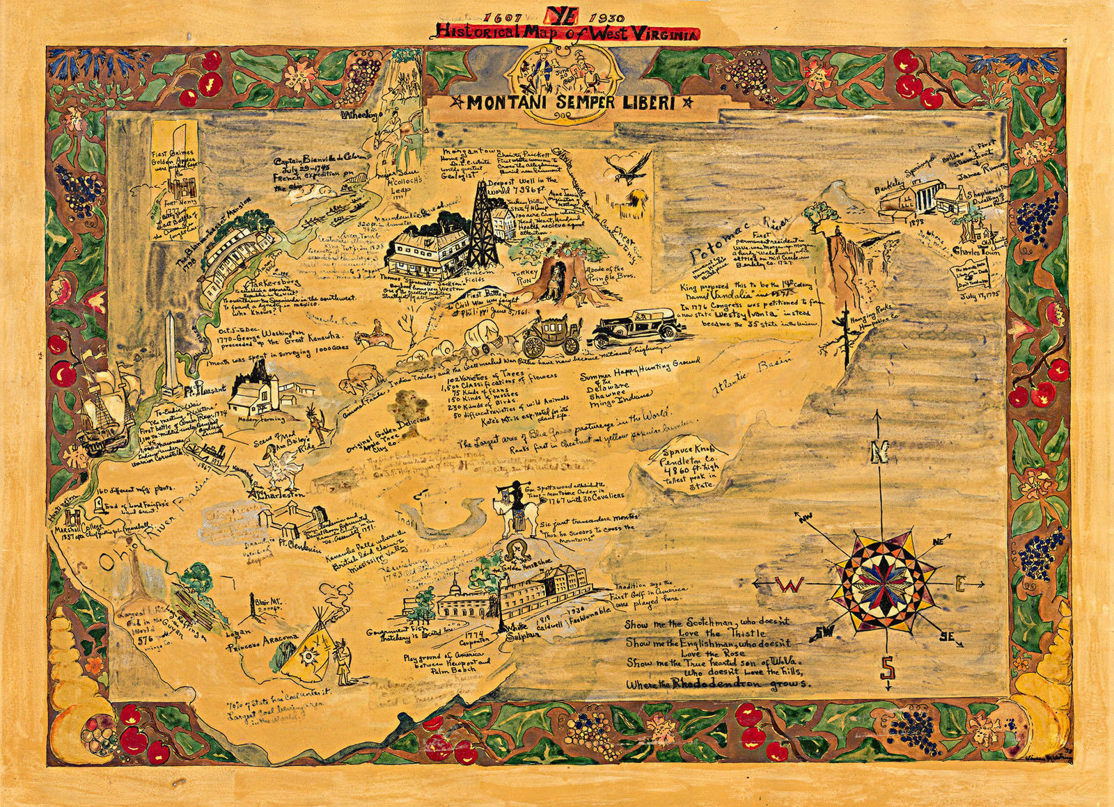 Pictorial Historical Map of West Virginia 1607-1930 Midcentury Wall ...