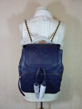 NWT Tory Burch Royal Navy Leather Fleming Quilted Backpack - $522.47