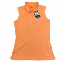 Nike Women's Icon Sleeveless Golf Polo Collared 5 Button Heather Laser Orange  - $25.22