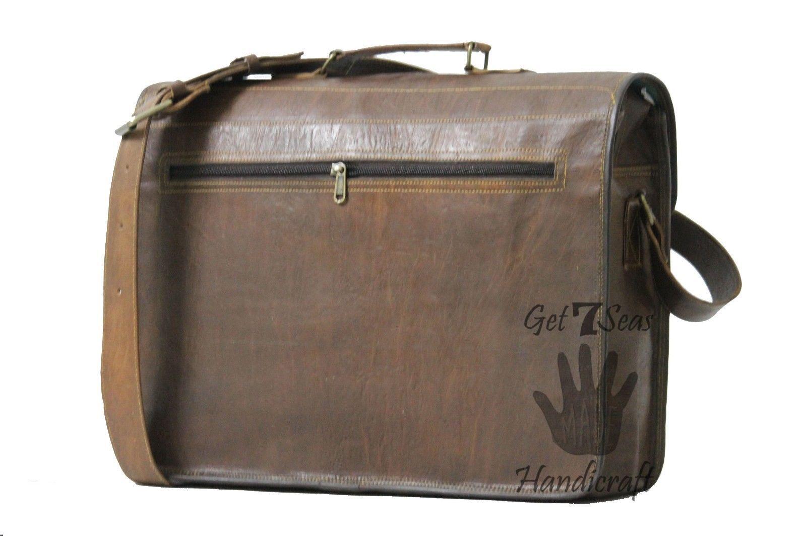 Vintage Leather Messenger Office Brown Laptop Satchel Bag Genuine Briefcase image 4