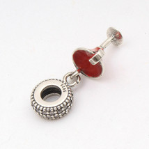 925 Sterling silver Cubic Zircon Red Wine Pandora Charms Bead Threaded F... - $8.15