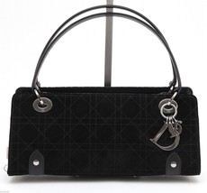 CHRISTIAN DIOR Bag Black Suede Leather Silver LADY DIOR East West CANNAGE - $643.50