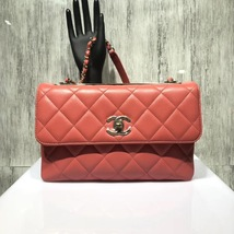 AUTHENTIC CHANEL CORAL RED QUILTED LAMBSKIN TRENDY CC 2 WAY HANDLE FLAP BAG GHW image 6