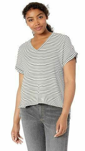 Amazon Brand Daily Ritual Women's Supersoft Terry Deep V-Neck Roll-Sleeve Shirt
