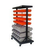 Dual Sided 7 Tier Mobile Bin Rack Storage Garage Organizer Plastic Baske... - $237.50