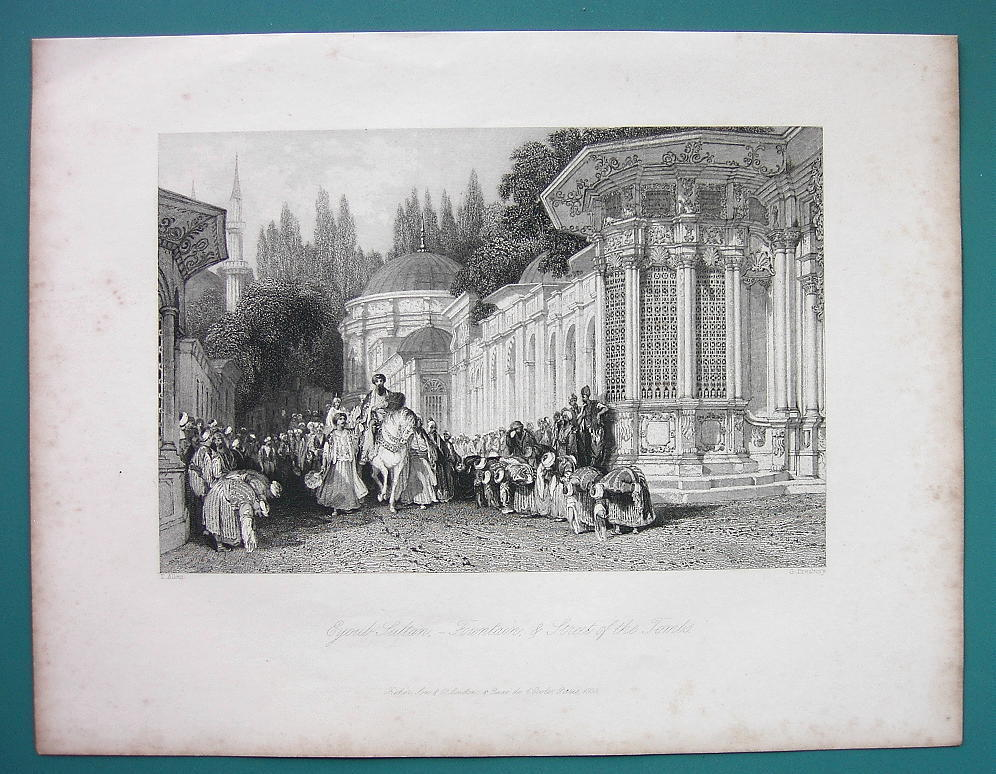 CONSTANTINOPLE Street oif Tombs Sultan Procession - 1840 Antique Print by Allom