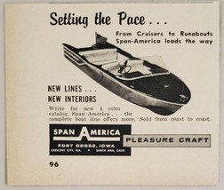 1960 Print Ad Span-America Pleasure Craft Boats Made in Fort Dodge,Iowa - $8.00