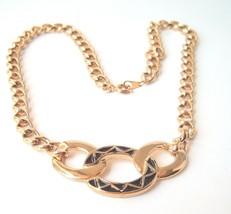 Vintage 80s Black & Gold tone Necklace Mod Metal - $12.84