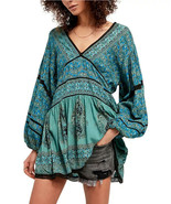 Free People Luna Scarf Print Tunic Top Ocean Combo Size XSmall MSRP: $12... - $74.24