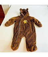 Disney Baby Sz 3 6 Months Brown Winnie the Pooh One Pc Snowsuit Fleece H... - $13.09