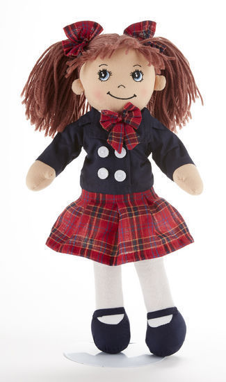 Image 1 of Red Brown Hair Apple Dumplin Doll, School Girl Red Plaid/Navy Dress 14