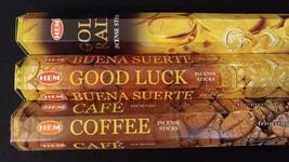 Gold Rain Good Luck Coffee 60 HEM Incense Sticks 3 Scent Sampler Gift Set - $7.00