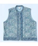 Orvis Cotton Batik Vest Woman's XL Teal Blue Button Front - $31.88