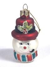 "Vtg Small Christmas Ornament Snowman Head Blown Glass Glitter Accents 3""  - $9.79"