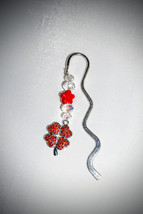 """3"""" Silver, Zig Zag, BOOKMARK, with Red, Crystal, 4 Leaf Clover, Red and ... - $5.25"""